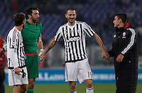 Calcio, Serie A: Lazio vs Juventus. Roma, stadio Olimpico, 4 dicembre 2015.<br /> Juventus&rsquo; players, from left, Claudio Marchisio, Gianluigi Buffon, Leonardo Bonucci and Paulo Dybala celebrate at the end of the Italian Serie A football match between Lazio and Juventus at Rome's Olympic stadium, 4 December 2015. Juventus won 2-0.<br /> UPDATE IMAGES PRESS/Isabella Bonotto