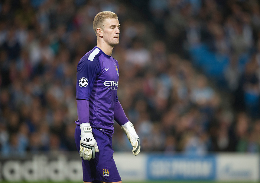 Manchester City's goalkeeper Joe Hart seems to reflect on the 3-1 defeat his team suffered<br /> <br /> Photo by Stephen White/CameraSport<br /> <br /> Football - UEFA Champions League Group D - Manchester City v Bayern Munich - Wednesday 2nd October 2013 -  Etihad Stadium - Manchester<br /> <br /> &copy; CameraSport - 43 Linden Ave. Countesthorpe. Leicester. England. LE8 5PG - Tel: +44 (0) 116 277 4147 - admin@camerasport.com - www.camerasport.com
