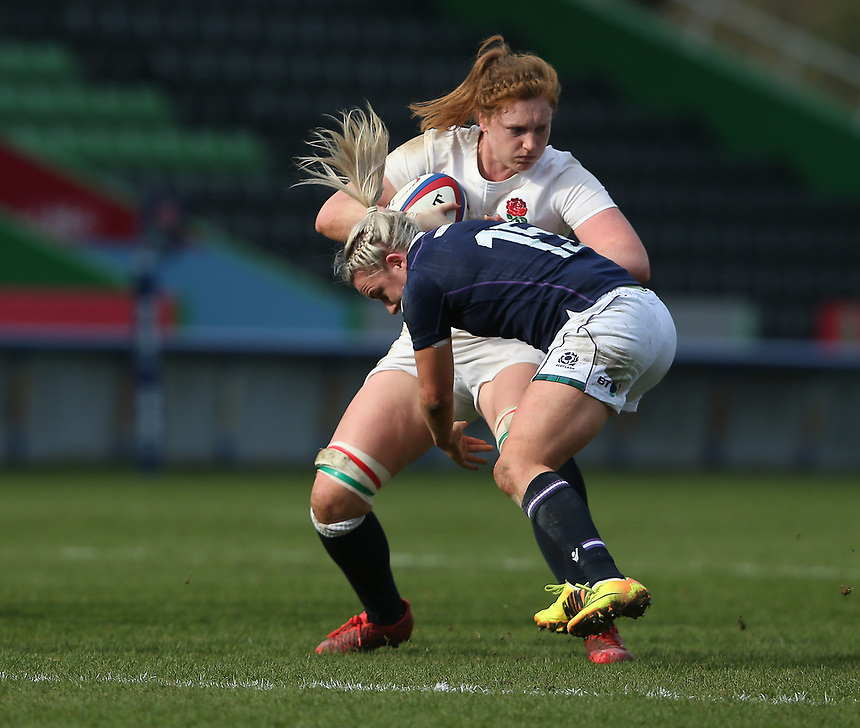 England Women's Harriet Millar-Mills is tackled by Scotland Women's Chloe Rollie<br /> <br /> Photographer Stephen White/CameraSport<br /> <br /> Women's Six Nations Round 4 - England Women v Scotland Women - Saturday 11th March 2017 - The Stoop - London<br /> <br /> World Copyright &copy; 2017 CameraSport. All rights reserved. 43 Linden Ave. Countesthorpe. Leicester. England. LE8 5PG - Tel: +44 (0) 116 277 4147 - admin@camerasport.com - www.camerasport.com