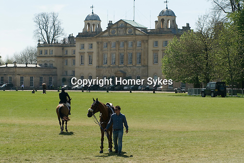 Badminton Horse Trials Gloucestershire UK. Badminton House competitors horse go to and from the stables.