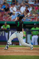 Dayton Dragons Miles Gordon (5) at bat during a Midwest League game against the Kane County Cougars on July 20, 2019 at Northwestern Medicine Field in Geneva, Illinois.  Dayton defeated Kane County 1-0.  (Mike Janes/Four Seam Images)