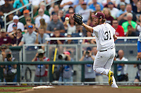 Mississippi State pitcher Trevor Fitts (31) covers first base during Game 1 of the 2013 Men's College World Series Finals against the UCLA Bruins on June 24, 2013 at TD Ameritrade Park in Omaha, Nebraska. The Bruins defeated the Bulldogs 3-1, taking a 1-0 lead in the best of 3 series. (Andrew Woolley/Four Seam Images)