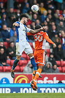 Blackpool's Nathan Delfouneso competing with Derrick Williams<br /> <br /> Photographer Andrew Kearns/CameraSport<br /> <br /> The EFL Sky Bet League One - Blackburn Rovers v Blackpool - Saturday 10th March 2018 - Ewood Park - Blackburn<br /> <br /> World Copyright &copy; 2018 CameraSport. All rights reserved. 43 Linden Ave. Countesthorpe. Leicester. England. LE8 5PG - Tel: +44 (0) 116 277 4147 - admin@camerasport.com - www.camerasport.com