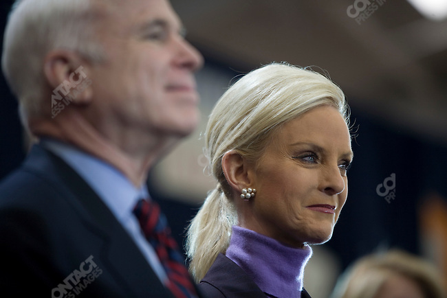 "Senator John McCain, Republican presidential candidate, and his wife, Cindy, attend a campaign rally packed with supporters in a push for ""Super Tuesday"" votes. Nashville, Tennessee, February 2, 2008."