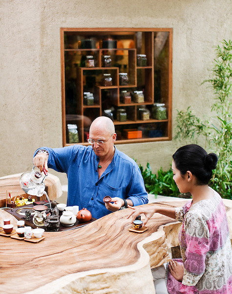 Chinese Tea Ceremony at Kamalaya, Koh Samui, Thailand. Tea expert San Bao practices a Chinese Tea Sharing Ceremony with High Mountain Oolong tea at the Alchemy Lounge, Kamalaya resort.