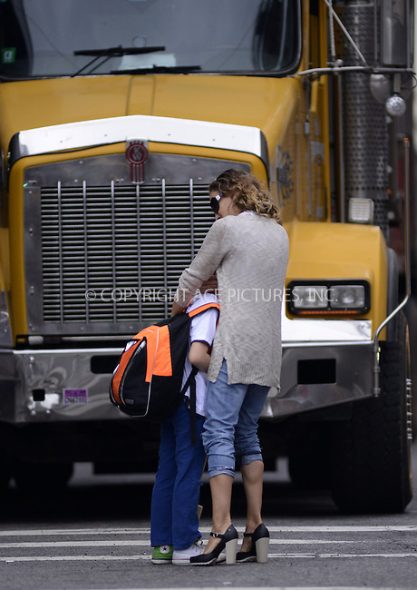 WWW.ACEPIXS.COM....May 23 2013, New York City....Actress Sarah Jessica Parker takes her son James Broderick to school in the West Village on May 23 2013 in New York City......By Line: Curtis Means/ACE Pictures......ACE Pictures, Inc...tel: 646 769 0430..Email: info@acepixs.com..www.acepixs.com
