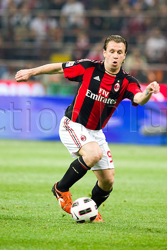 02.04.2011 Alexandre Pato scores two and Antonio Cassano converts a penalty against Inter in what could potentially be a title deciding result. Picture shows Antonio Cassano.