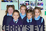 NEW CLASS: The new junior infants who started school at Scoil Chriost Ri, Dromnacurrow, Causeway this year are front l-r: Adam Butler and Ellen O'Donoghue. Back l-r: Stacy Leahy, Heather Lane and Ava Healy. Copyright Kerry's Eye 2008