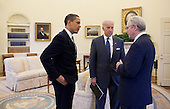 Washington, DC - April 23, 2009 -- United States President Barack Obama and Vice President Jospph Biden meet in the Oval Office with Christopher Hill, the new U.S. Ambassador to Iraq, Thursday, April 23, 2009, at the White House. .Credit: Pete Souza - White House via CNP
