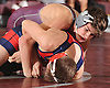 Kyle Althenn of Mepham, top, battles Nick Cardone of MacArthur at 126 pounds during a Nassau County varsity wrestling match at Mepham High School on Wednesday, Jan. 11, 2017. Althenn won the bout by pin in the third period.