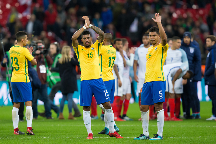Brazil&rsquo;s Paulinho (centre) and Casemiro applaud the fans <br /> <br /> Photographer Craig Mercer/CameraSport<br /> <br /> The Bobby Moore Fund International - England v Brazil - Tuesday 14th November 2017 Wembley Stadium - London  <br /> <br /> World Copyright &copy; 2017 CameraSport. All rights reserved. 43 Linden Ave. Countesthorpe. Leicester. England. LE8 5PG - Tel: +44 (0) 116 277 4147 - admin@camerasport.com - www.camerasport.com