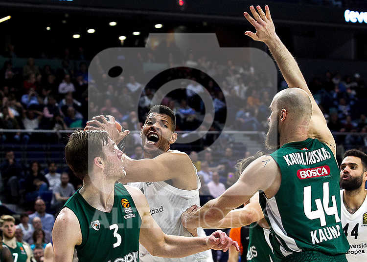Zalgiris' Nate Wolters, Real Madrid's Walter Tavares and Zalgiris' Antanas Kavaliauskas during Euroligue match between Real Madrid and Zalgiris Kaunas at Wizink Center in Madrid, Spain. April 4, 2019.  (ALTERPHOTOS/Alconada)