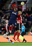 Angelo Ogbonna of West Ham United and David McGoldrick of Sheffield Utd during the Premier League match at Bramall Lane, Sheffield. Picture date: 10th January 2020. Picture credit should read: Simon Bellis/Sportimage