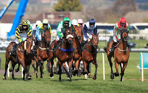 14h April 2018, Aintree Racecourse, Liverpool, England; The 2018 Grand National horse racing festival sponsored by Randox Health, day 3; Horses galloping towards one of the fences in The Betway Handicap Steeple Chase