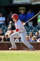 Hagerstown Suns first baseman James Yezzo (8) at bat during a game against the Lexington Legends on May 19, 2014 at Whitaker Bank Ballpark in Lexington, Kentucky.  Lexington defeated Hagerstown 10-8.  (Mike Janes/Four Seam Images)