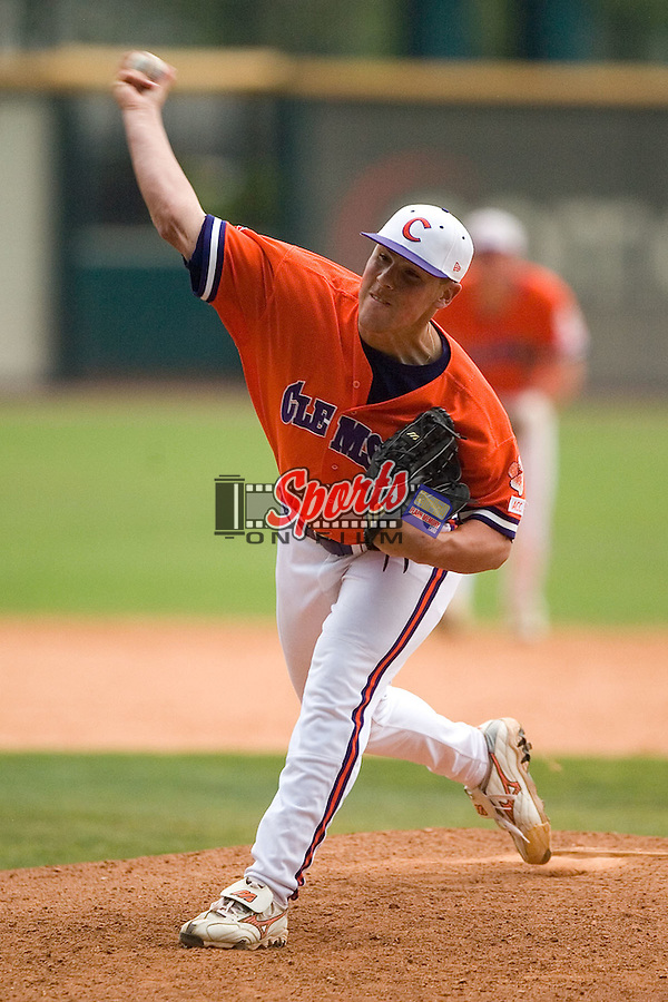 Clemson's P.J. Zocchi (31) fires a pitch to the plate versus North Carolina State in the 9th inning of the 2006 ACC Baseball Championship at the Baseball Grounds at Jacksonville in Jacksonville, FL, Sunday, May 28, 2006.  The Tigers defeated the Wolfpack 8-4.
