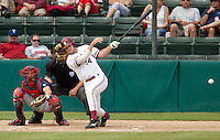STANFORD, CA - May 22, 2011: Jake Stewart of Stanford baseball hits during Stanford's game against Arizona at Sunken Diamond. Stanford won 2-1.