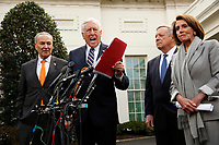 United States House Majority Leader Steny Hoyer (Democrat of Maryland) speaks to reporters after the meeting with US President Donald J. Trump that resulted in his walking out of the meeting on the government shutdown, at the White House, in Washington, D.C., January 9, 2019.  Standing behind the Leader Hoyer, from left to right: US Senate Minority Leader Chuck Schumer (Democrat of New York), US Senator Dick Durbin (Republican of Illinois), and Speaker of the US House of Representatives Nancy Pelosi (Democrat of California).<br /> Credit: Martin H. Simon / CNP /MediaPunch
