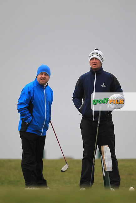 on the 1st teeing off in the Hilary golf society in Co Louth Golf Club 24/3/13.Picture: Fran Caffrey / www.golffile.ie ..