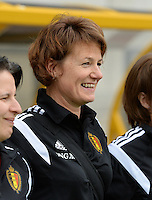 20150523 - SINT-TRUIDEN ,  BELGIUM : Belgian Physio Fabienne Van De Steene pictured during the friendly soccer game between the Belgian Red Flames and Norway, a preparation game for Norway for the Women's 2015 World Cup, Saturday 23 May 2015 at Staaien in Sint-Truiden , Belgium. PHOTO DAVID CATRY