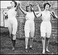 BNPS.co.uk (01202 558833)<br /> Pic:   BestofBritish/HistoryPress/BNPS<br /> <br /> Three Lumberjills in their special issue underwear.<br /> <br /> These inspiring photos tell the little known story of the patriotic women who chopped down trees to help us win the Second World War.<br /> <br /> When war was declared in September 1939 Britain was almost completely dependent on imported timber and only had seven months worth of it stockpiled.<br /> <br /> With men being sent to the front line in their droves, the Woman's Timber Corps was established to fell trees, operate sawmills and run forestry sites.<br /> <br /> About 15,000 women, some as young as 14, volunteered to carry out the arduous tasks previously done by men.