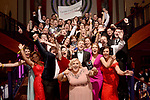 Members of Harold's Cross Musical Society, Dublin celebrate their awards for their production of 'How To Succeed' at the Association of Irish Musical Societies (AIMS) annual awards in the INEC, Killarney at the weekend. <br />  Photo Don MacMonagle<br /> <br /> repro free photo AIMS<br /> Further info: Kate Furlong PRO kate.furlong84@gmail.com