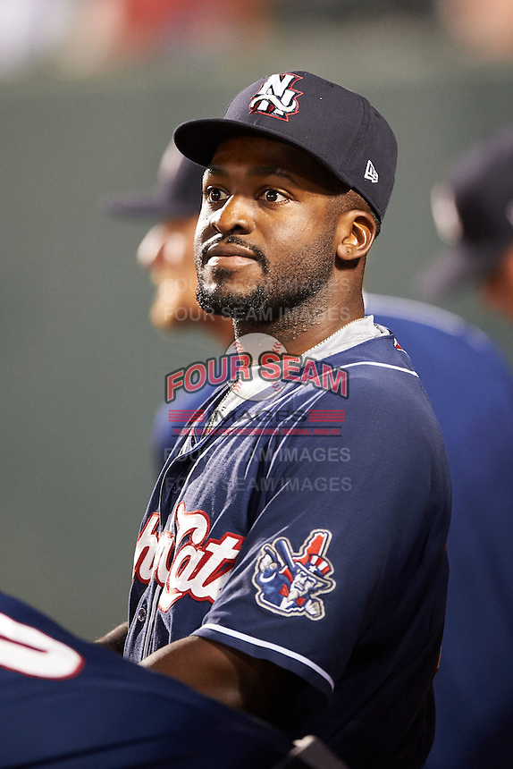 New Hampshire Fisher Cats Dwight Smith Jr. (25) in the dugout during a game against the Harrisburg Senators on July 21, 2015 at Metro Bank Park in Harrisburg, Pennsylvania.  New Hampshire defeated Harrisburg 7-1.  (Mike Janes/Four Seam Images)