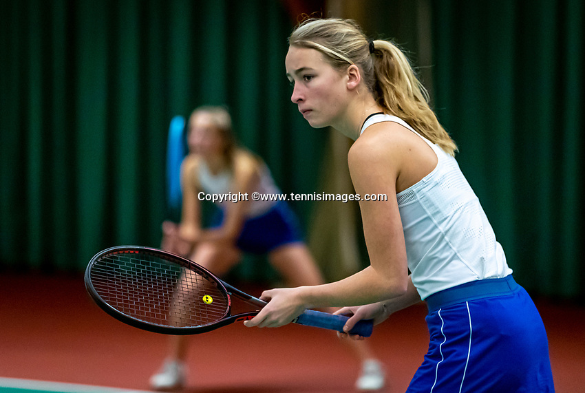 Wateringen, The Netherlands, December 15,  2019, De Rhijenhof , NOJK juniors doubles 12/14/16  years, Tesse Haan (NED) and Bente Patist (NED) (L)<br /> Photo: www.tennisimages.com/Henk Koster