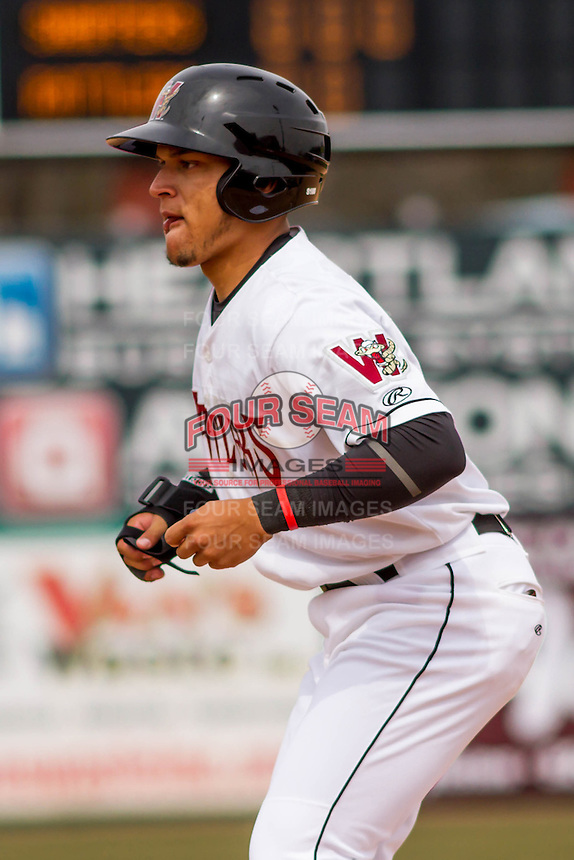 Wisconsin Timber Rattlers shortstop Isan Diaz (6) leads off first during a Midwest League game against the Beloit Snappers on April 10th, 2016 at Fox Cities Stadium in Appleton, Wisconsin.  Wisconsin defeated Beloit  4-2. (Brad Krause/Four Seam Images)