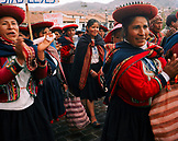 PERU, Cusco, South America, Latin America, large group of local women in during a protest march in the Plaza De Armas in Cusco.