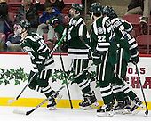 The Big Green celebrate Corey Kalk's (Dartmouth - 18) goal in the second period. The Harvard University Crimson defeated the Dartmouth College Big Green 5-2 to sweep their weekend series on Sunday, November 1, 2015, at Bright-Landry Hockey Center in Boston, Massachusetts. -