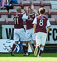 Arbroath's Alan Cook celebrates with Paul Sheerin (11) after he scores their second goal from the penalty spot.