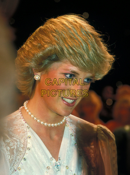 HRH, THE PRINCESS DIANA OF WALES.London, England..Lady Di family her royal highness portrait headshot pearl necklace choker earring blue eyeliner.Ref: CAP/PL.©Phil Loftus/Capital Pictures