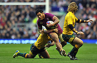 Manu Tuilagi in attack. QBE International match between England and Australia on November 17, 2012 at Twickenham Stadium in London, England. Photo by: Patrick Khachfe / Onside Images