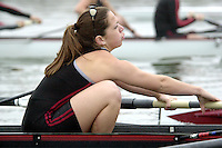 REDWOOD SHORES, CA - JANUARY 2002:  Erin Krampetz of the Stanford Cardinal during practice in January 2002 in Redwood Shores, California.