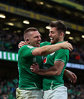 8th February 2020; Aviva Stadium, Dublin, Leinster, Ireland; International Six Nations Rugby, Ireland versus Wales; Andrew Conway (Ireland) and Ross Byrne (Ireland) celebrate the try