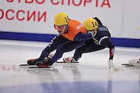 "SHORT TRACK: MOSCOW: Speed Skating Centre ""Krylatskoe"", 15-03-2015, ISU World Short Track Speed Skating Championships 2015, Quarterfinals 1000m Men, Sjinkie KNEGT (#148 | NED), ©photo Martin de Jong"