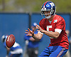 Davis Webb #5, New York Giants quarterback, takes a snap during the first day of team Rookie Camp at Quest Diagnostics Training Center in East Rutherford, NJ on Friday, May 12, 2017.