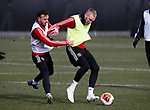 Jack Robinson of Sheffield Utd and Oli McBurnie of Sheffield Utd during a training session at the Steelphalt Academy, Sheffield. Picture date: 5th March 2020. Picture credit should read: Simon Bellis/Sportimage