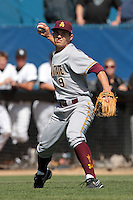 Michael Benjamin #9 of the Arizona State Sun Devils throws to first base during a game against the Long Beach State Dirtbags at Blair Field on March 11, 2012 in Long Beach,California. Arizona State defeated Long Beach State 6-1.(Larry Goren/Four Seam Images)