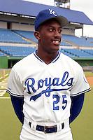 Kansas City Royals Gary Thurman (25) during spring training circa 1991at Baseball City Stadium in Davenport, Florida.  (MJA/Four Seam Images)