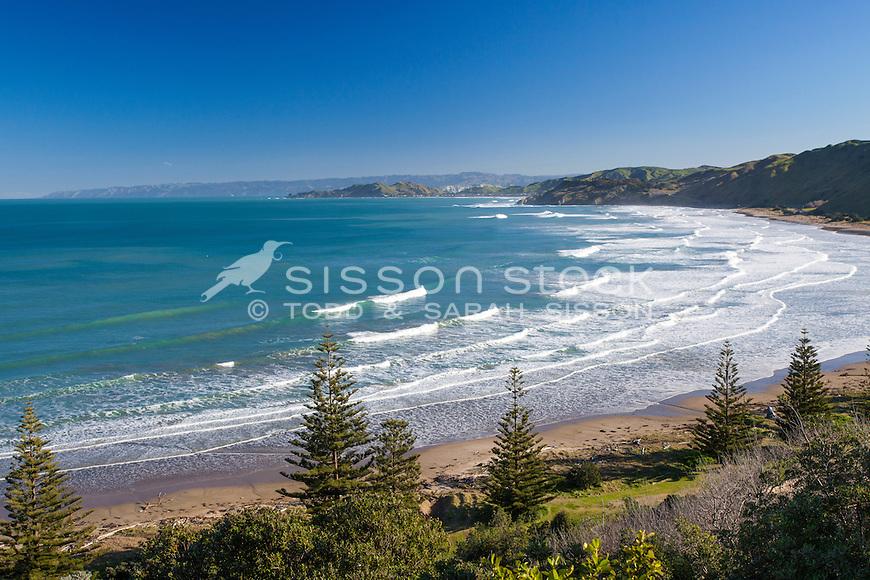Blue sky day view towards Gisborne & Makorori Headland. North Island New Zealand.