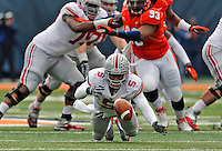 Ohio State Buckeyes quarterback Braxton Miller (5) fumbles the ball in the first quarter of their game at Memorial Stadium in Champaign, Ill on November 16, 2013. (Columbus Dispatch photo by Brooke LaValley)