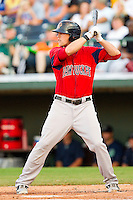 Lars Anderson #26 of the Pawtucket Red Sox at bat against the Charlotte Knights at Knights Stadium on August 11, 2011 in Fort Mill, South Carolina.  The Red Sox defeated the Knights 3-2.   (Brian Westerholt / Four Seam Images)