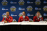 08 December 2012: From left: head coach Todd Yeagley, Luis Soffner, Eriq Zavaleta. The Indiana University Hoosiers held a press conference at Regions Park Stadium in Hoover, Alabama one day before playing in the 2012 NCAA Division I Men's Soccer College Cup championship game.
