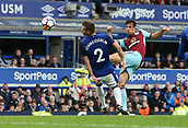 1st October 2017, Goodison Park, Liverpool, England; EPL Premier League Football, Everton versus Burnley; Jack Cork of Burnley fires a shot as Morgan Schneiderlin of Everton tries to block