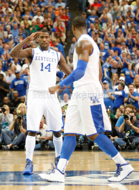Teammates Michael Kidd-Gilchrist and Terrence Jones celebrate in the first half of the south region final between the University of Kentucky and Baylor University in the NCAA Tournament, in the Georgia Dome, on Sunday, March 25, 2012 in Atlanta, Ga. Photo by Latara Appleby | Staff. ..