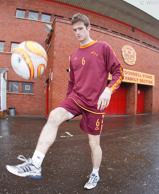Motherwell defender Brian McLean at Fir Park,  Jan 2009 as he looks to making a first team comeback