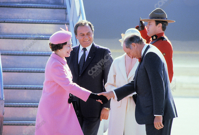 Queen Elizabeth II with Canadian Prime Minister Pierre Elliott Trudeau during a royal visit Ottawa, Canada, April 1982