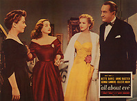 All About Eve (1950)<br /> Lobby card with George Sanders, Marilyn Monroe, Anne Baxter &amp; Bette Davis<br /> *Filmstill - Editorial Use Only*<br /> CAP/KFS<br /> Image supplied by Capital Pictures